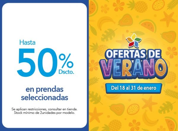 HASTA 50% DSCTO PRENDAS SELEC - NOW - Plaza Norte