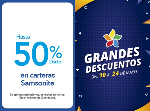 HASTA 50% DSCTO. EN CARTERAS SAMSONITE Samsonite - Plaza Norte