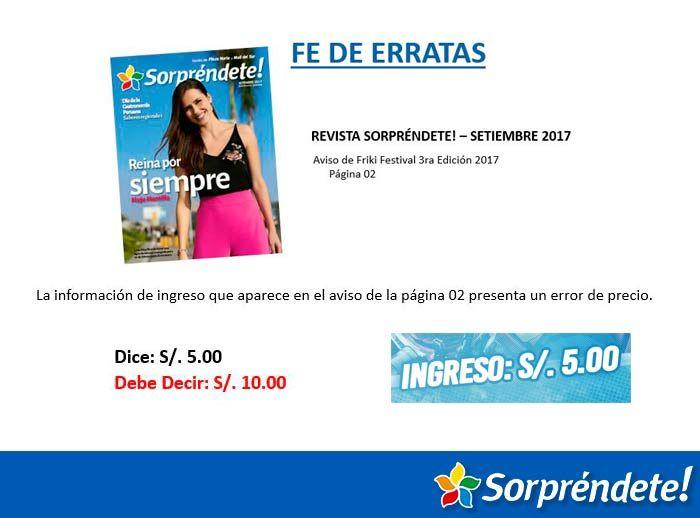 FE DE ERRATAS - FRIKI FESTIVAL - Plaza Norte