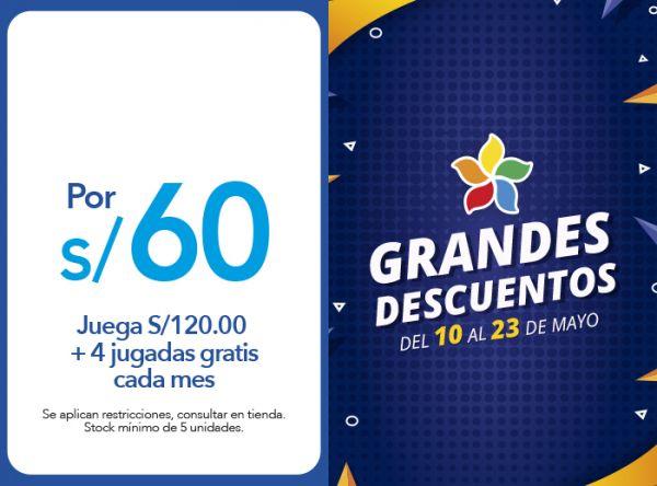 JUEGA S/120.00  + 4 JUGADAS GRATIS CADA MES, POR S/60.00 - Plaza Norte