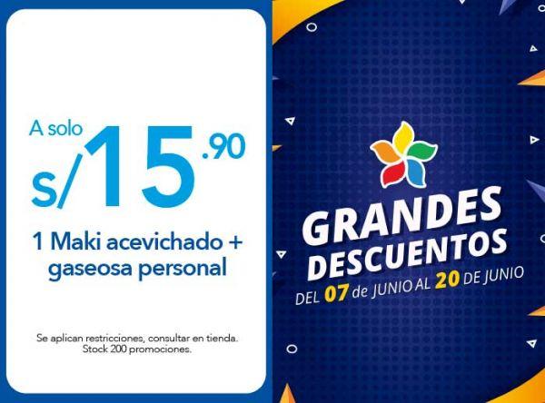 1 MAKI ACEVICHADO + GASEOSA PERSONAL A S/ 15.90 - Plaza Norte