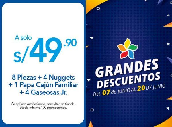 8 PIEZAS + 4 NUGGETS + 1 PAPA CAJÚN FAMILIAR + 4 GASEOSAS JR. A S/ 49.90 - Popeyes - Plaza Norte