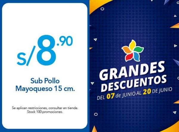 SUB POLLO MAYOQUESO 15 CM. A S/8.90 Subway - Plaza Norte