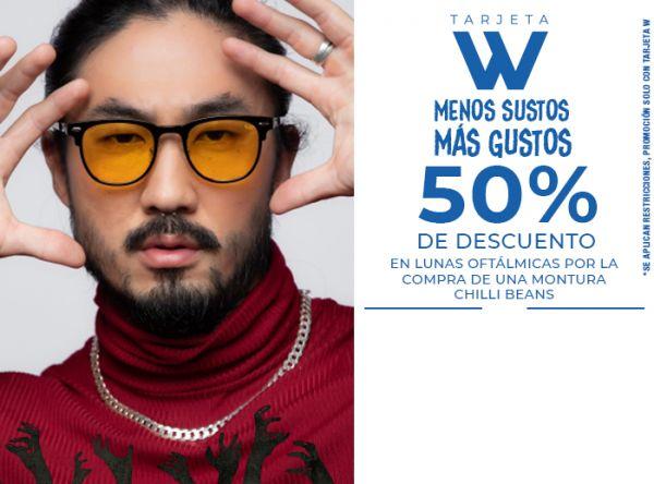 50% DSCTO. EN LUNAS OFTÁLMICAS POR LA COMPRA DE UNA MONTURA CHILLI BEANS - Chilli Beans - Plaza Norte
