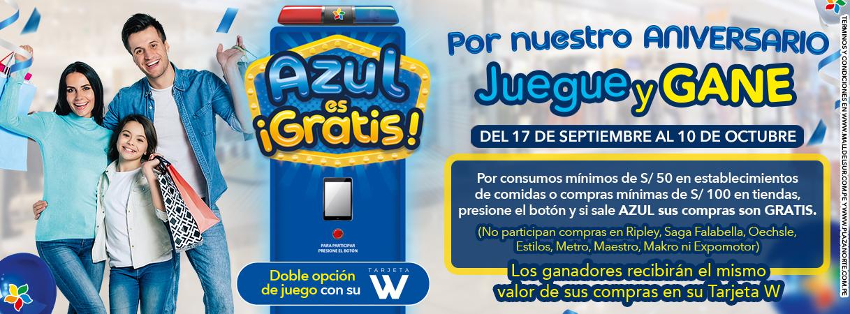 """Promoción """"Azul es Gratis""""- Aniversario - Plaza Norte"""